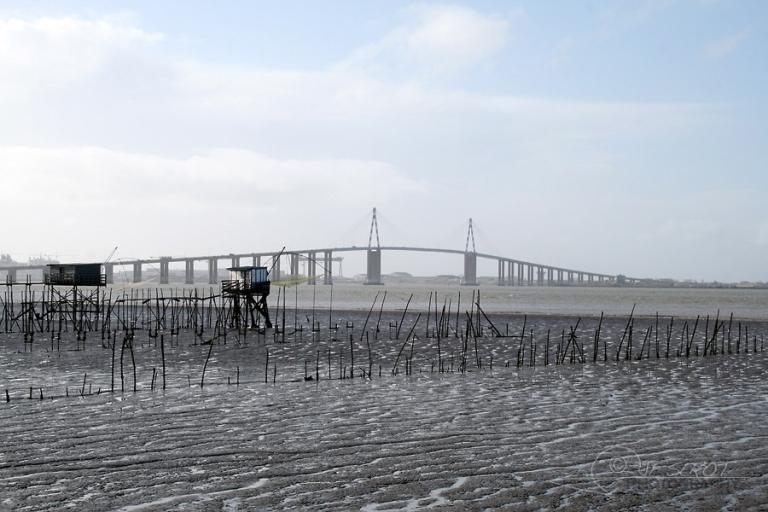 Pêcheries et pont de Saint-Nazaire – France