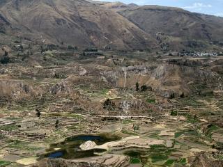 Culture en terrasses au bord de la rivière de Colca – Pérou